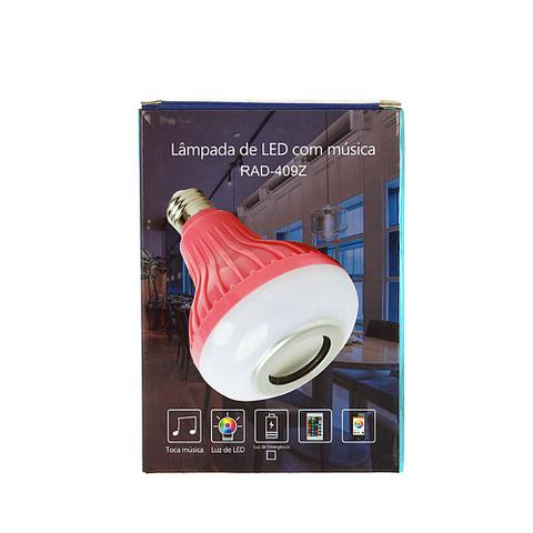 Imagem de Lâmpada Decorativa Bluetooth Toca Música Com Luz LED RGB Colorido - Rosa - RAD-409Z - Inova