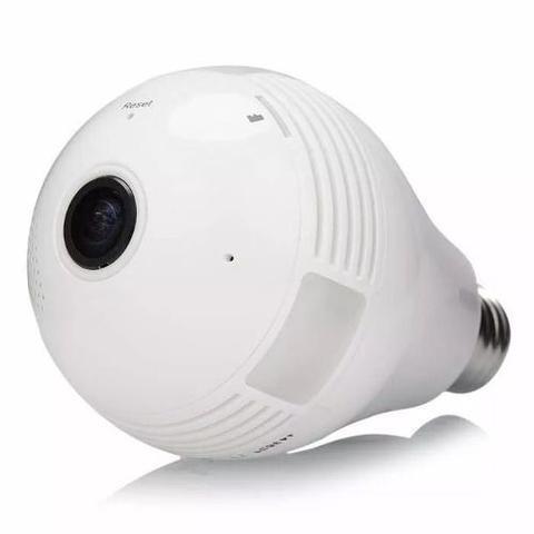 Imagem de Lâmpada espiã câmera Ip led wifi HD panorâmica 360º celular