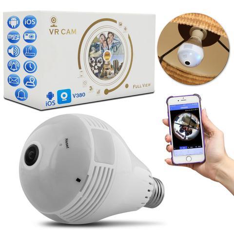 Imagem de Lâmpada Espiã Câmera LED Wifi Panorâmica 360 Full HD 1.3Mp Microfone Controle Android iOS SD Bivolt