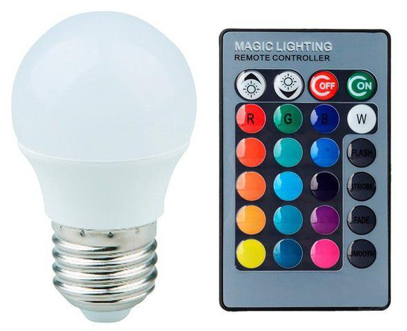Imagem de Lâmpada LED Bulbo Bolinha 03W RGB