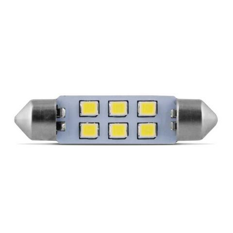 Imagem de Lâmpada torpedo 42mm 6 leds branco 12v 10 pçs luz de teto e luz de placa