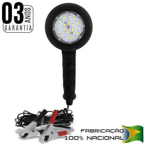Imagem de Lanterna Pendente Luz de Emergência LED 12V Branca com Garras Jacaré Carro e Moto