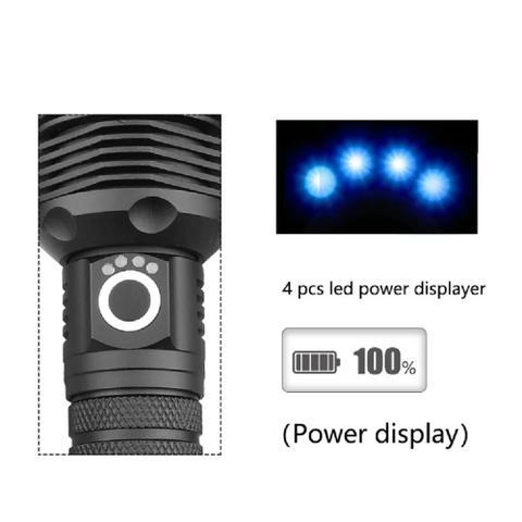 Imagem de Lanterna Tática Super Led Branco T9 Recarregável 2 Bateria