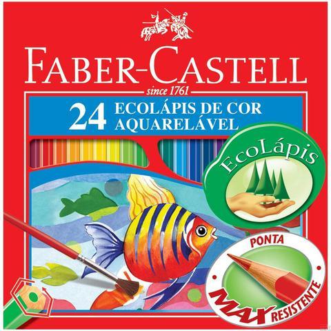 Imagem de Lápis Aquarela Sextavado Estojo com 24 Cores Ref.120224 Faber-Castell
