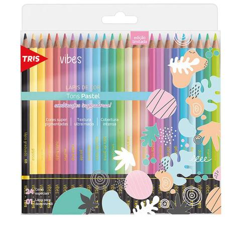 Imagem de Lapis Cor 24 Cores Vibrantes Tons  Pastel Vibes + 1 Lapis 6B Original Tris Ultra Macio