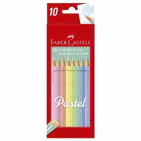 Imagem de Lapis cor inteiro com 10 cores pastel 120510p / un / faber - Faber Castell