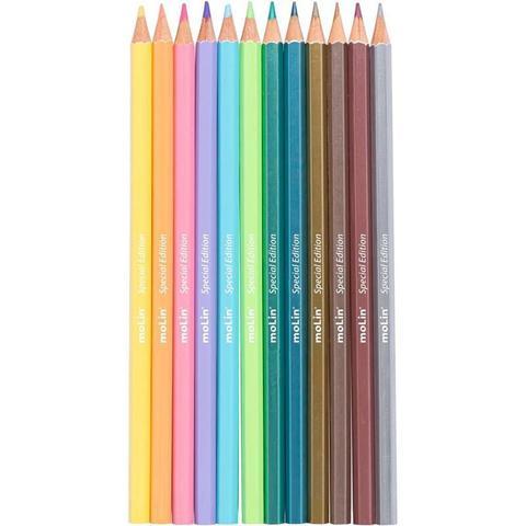 Imagem de Lapis de Cor 12 Cores 6 Pastel e 6 Metalico Molin