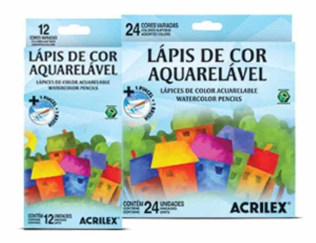 Imagem de Lapis de Cor 12 Cores Aquarelável Sextavado Acrilex