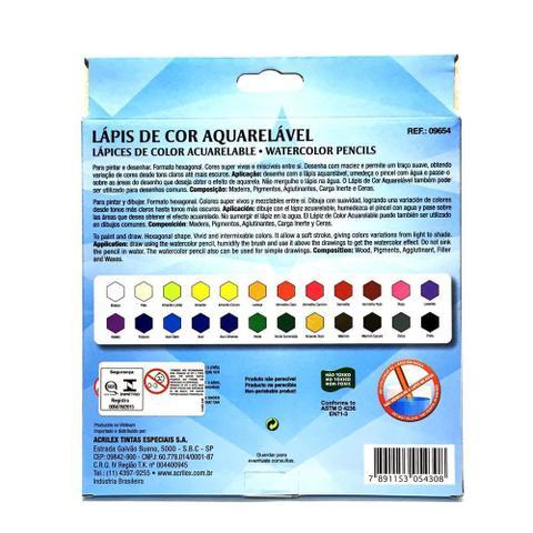 Imagem de Lápis de cor aquarelável 24 cores acrilex