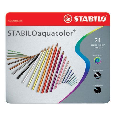 Imagem de Lapis de Cor Aquarelável 24 Cores Stabilo Aquacolor Caixa Metalica