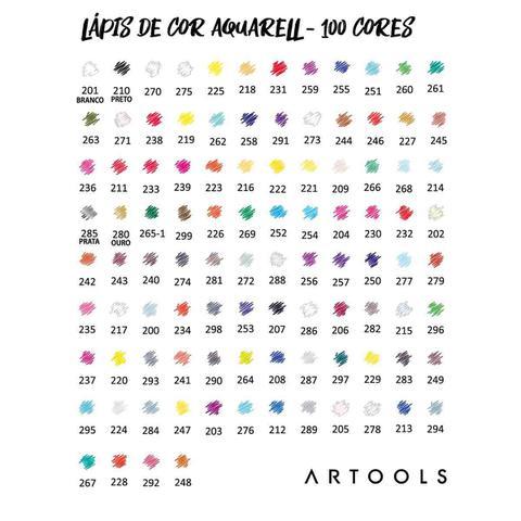 Imagem de Lapis de Cor Aquarelavel Artools 100 Cores