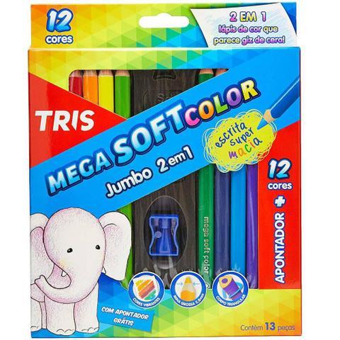 Imagem de Lapis De Cor Mega Soft Color 12 Cores Jumbo 2 em 1 Tris