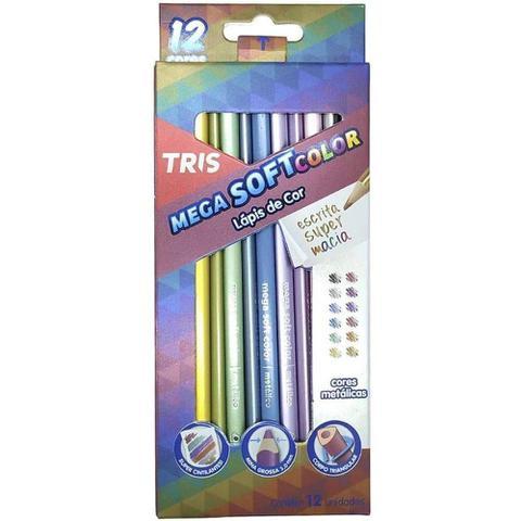 Imagem de Lapis De Cor Mega Soft Color 12 Cores Metalicas Tris