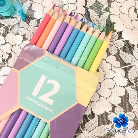 Imagem de Lapis de Cor Redondo 12 Cores Cor Pastel