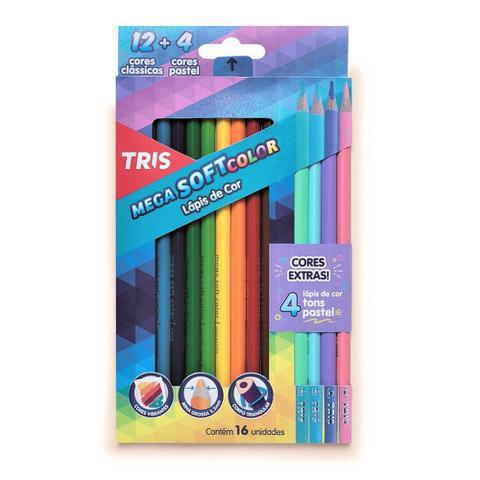 Imagem de Lapis de Cor Triangular Mega Soft Color 12 Cores e 4 Tons Pasteis Tris