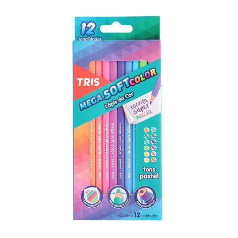 Imagem de Lapis de Cor Triangular Mega Soft Color Tons Pasteis 12 Cores Tris