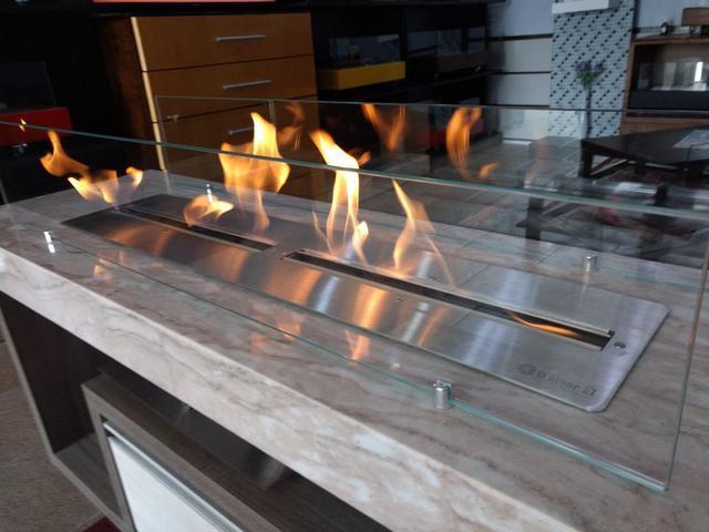 Imagem de Lareira Ecológica a Álcool Aço Inox 304 (queimador 120 Duplo=2x60cm)
