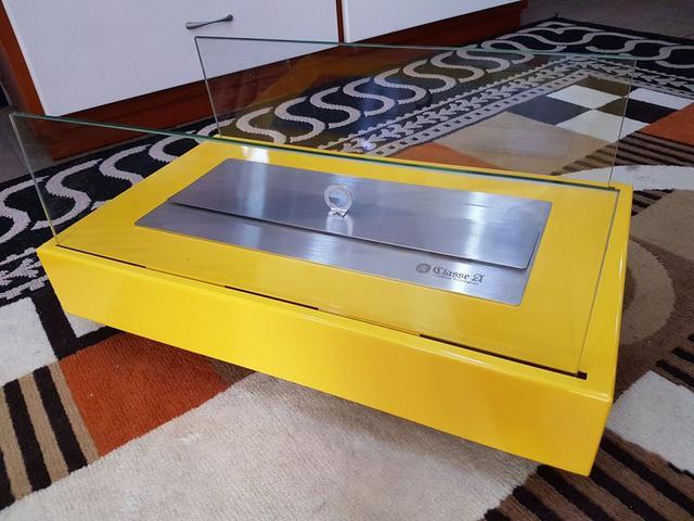 Imagem de Lareira Ecológica a Álcool Portátil Aço Amarela Queimador 40cm
