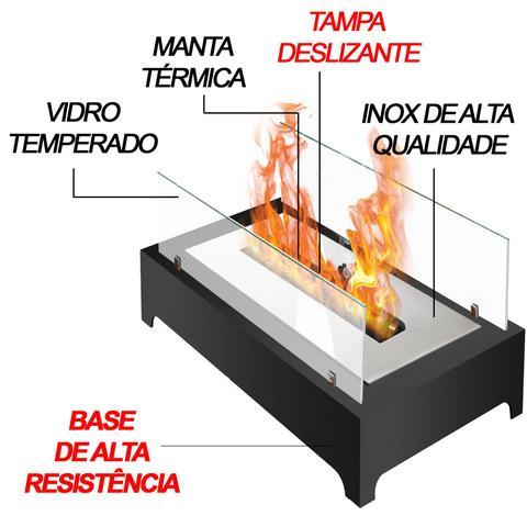 Imagem de Lareira ecológica completa com vidros 45cm (base de metal)