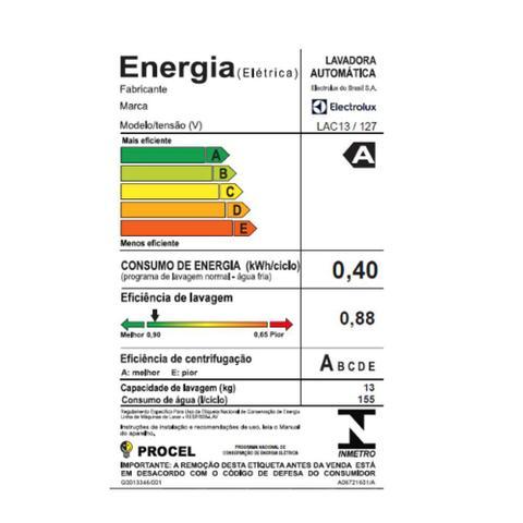 Imagem de Lavadora de Roupas Automática Electrolux 13kg Branca 127v LAC13