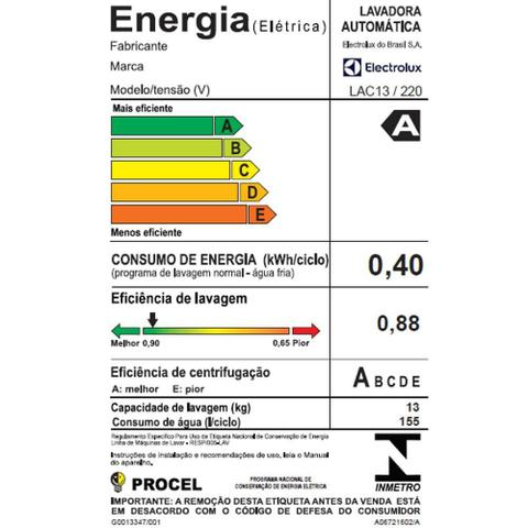 Imagem de Lavadora de Roupas Electrolux LAC13, 13Kg, 12 programas, Branca