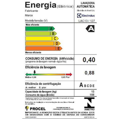 Imagem de Lavadora de Roupas Electrolux LAC13 13kg