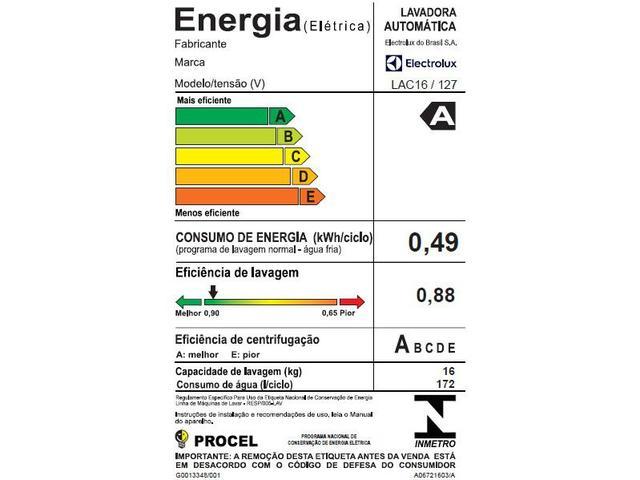 Imagem de Lavadora de Roupas Electrolux LAC16 16kg