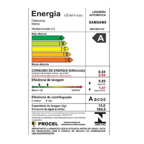 Imagem de Lavadora e Secadora Samsung 15 Kg EcoBubble Branca 110V WD15N7210KW/AZ
