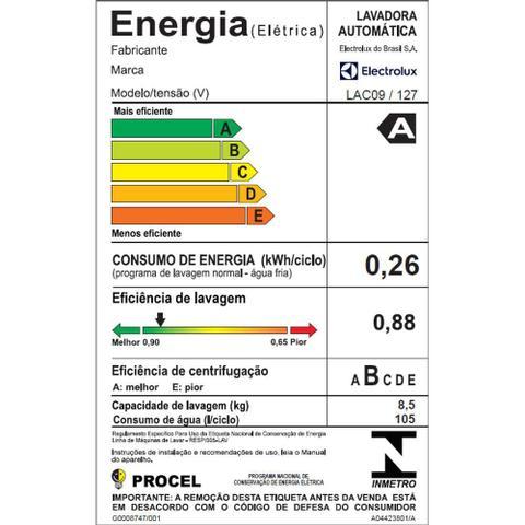 Imagem de Lavadora Electrolux 8,5kg Lac09 - Branca 127v