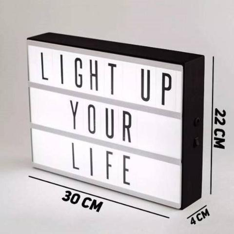 Imagem de Led Lightbox Luminaria Cinema Iluminação Letras Decoração A4 Cabo USB Letras Light