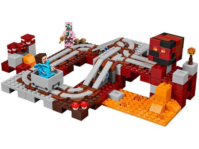 LEGO Minecraft A Ferrovia de Nether 387 Peças - 21130 - Blocos de ... 21d8404fba