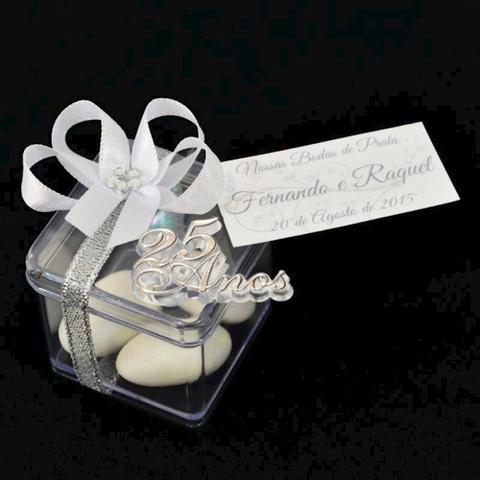 Imagem de Lembrancinha de Bodas de Prata Caixa Decorada c/ Placa e Amêndoas