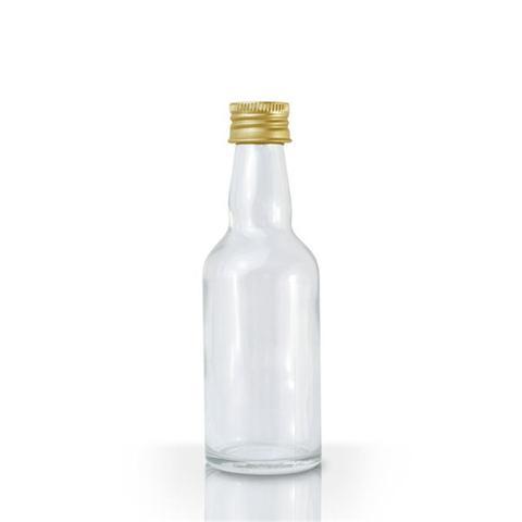 Imagem de Lembrancinha Mini Garrafinha de Vidro Tampa Dourada 50ml 10 unidades