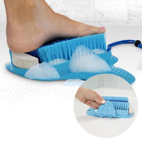 Imagem de Limpa Pes Escova Pedra Pome Esfoliante Chuveiro Ventosa Box Banheira