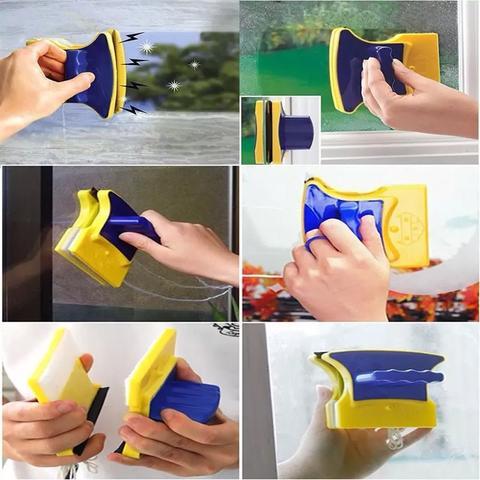 Imagem de Limpador Vidros Magnético Janela Rodo Imã Limpa Rápido Kit 2 Unidades