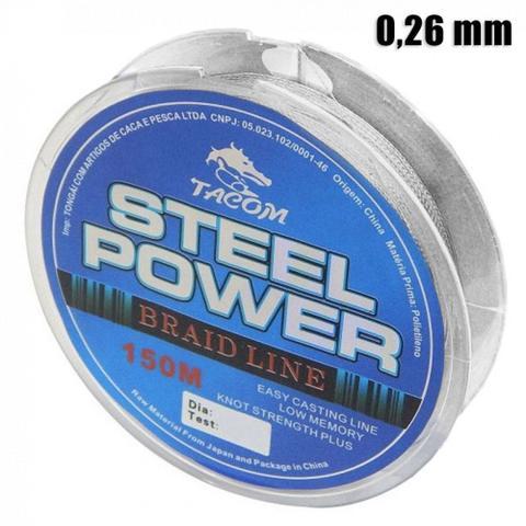 Imagem de Linha para Pesca Multifilamento Steel Power com 150 Metros e 0,26 Mm  Tacom