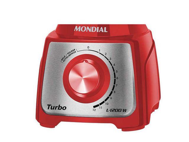Imagem de Liquidificador Mondial Turbo 12 velocidades + Pulsar 1200W - Vermelho/Inox - 220V