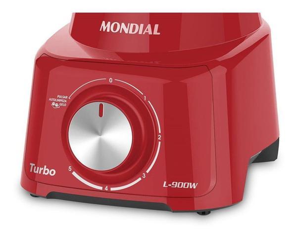Imagem de Liquidificador Mondial Turbo 900w L-900fr 5v Vermelho - 127v