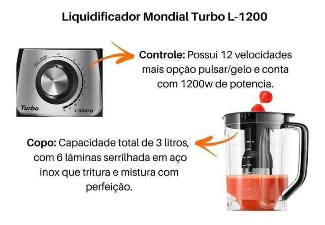 Imagem de Liquidificador Mondial Turbo Inox 1200w L1200 Bi 12 Vel.127V