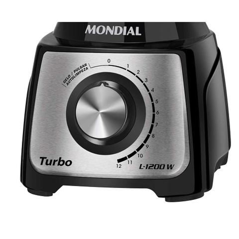 Imagem de Liquidificador Mondial Turbo Inox L-1200BI 1200W - Preto