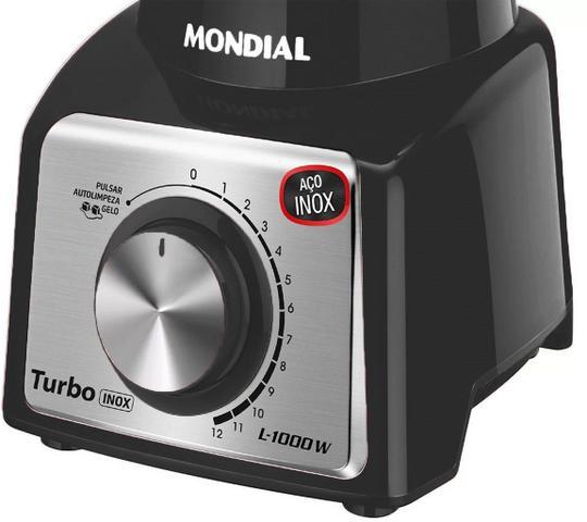 Imagem de Liquidificador Mondial Turbo Inox Preto 1.000W Copo 3,0L Grande Com Filtro Função Pulsar 12 Velocidades