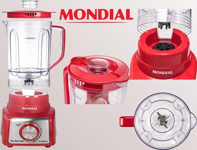 Imagem de Liquidificador Mondial Turbo Inox Vermelho 1.000W Copo 3,0L Grande Com Filtro Função Pulsar 12 Velocidades