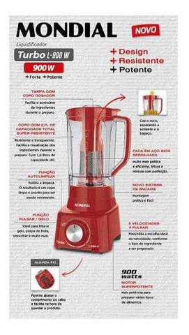 Imagem de Liquidificador Mondial Turbo L-900 Fr Copo 2,7l - Vermelho Com Filtro 05 Velocidades 900w 220v