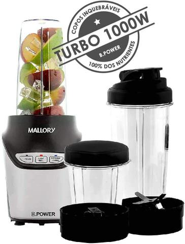 Imagem de Liquidificador Super Blender Mallory Power 1000W Preto 127v