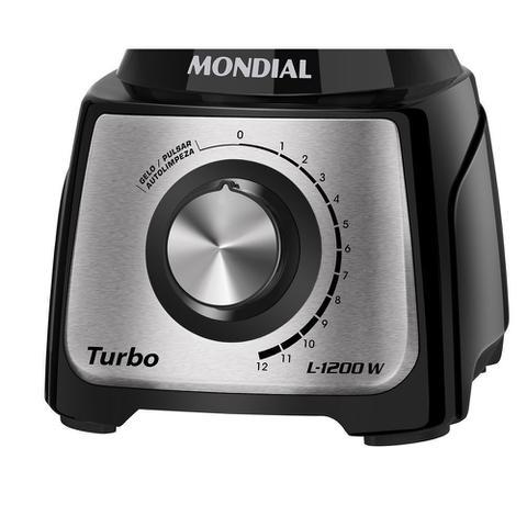 Imagem de Liquidificador Turbo Black Inox 1200w L-1200-BI Mondial 110v