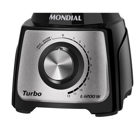 Imagem de Liquidificador Turbo Black Inox 1200w L-1200-BI Mondial 220v