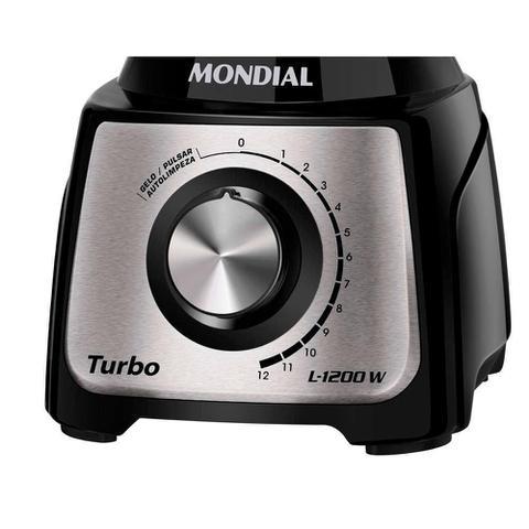 Imagem de Liquidificador Turbo Inox 1200W  L-1200BI Mondial Preto e Inox 5465-02 220V