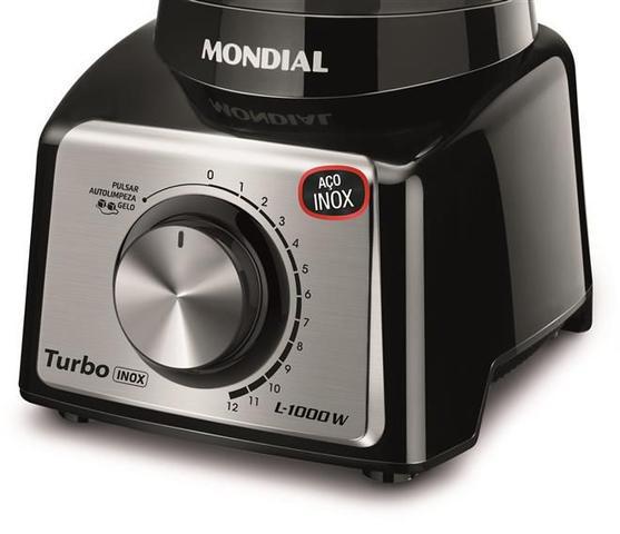 Imagem de Liquidificador Turbo Mondial  Black Inox L-1000 BI