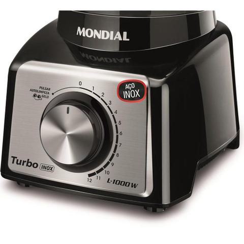 Imagem de Liquidificador Turbo Mondial L-1000 BI Black Inox 1000W