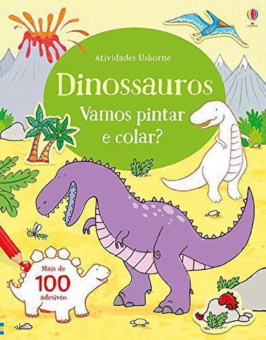 Imagem de Livro - Dinossauros : Vamos pintar e colar?